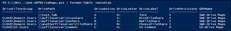 Getting all GPP Drive maps in a Domain with PowerShell