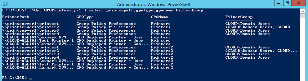 Get all GPO deployed Printers with PowerShell | Tailspintoys