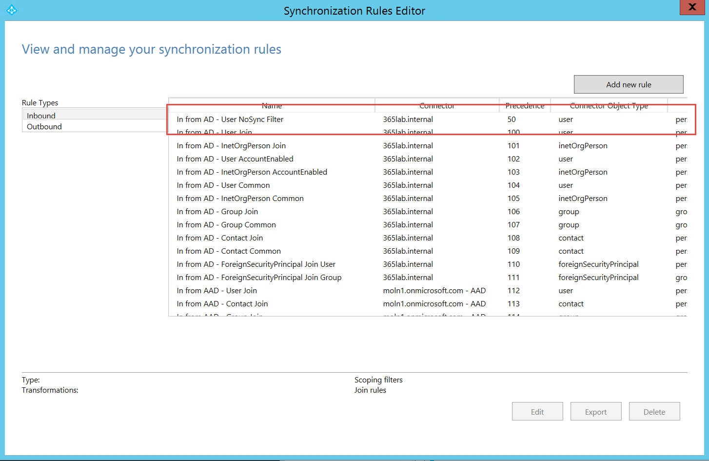 Azure AD Sync – Configure attribute based filtering using PowerShell