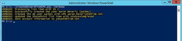 Creating AD users with help from SharePoint Online and PowerShell