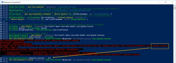 Assign individual parts of licenses with Azure AD PowerShell